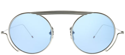 Thom Browne TB TBS111-48-02 Round Metal Silver Sunglasses with Light Blue AR Lens