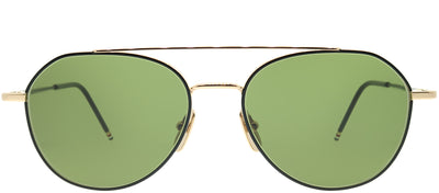 Thom Browne TB TB-105-A-BLK-GLD-55 Aviator Metal Gold Sunglasses with Green G15 AR Lens