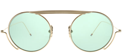 Thom Browne TB TBS111-48-01 Round Metal Gold Sunglasses with Mint AR Lens