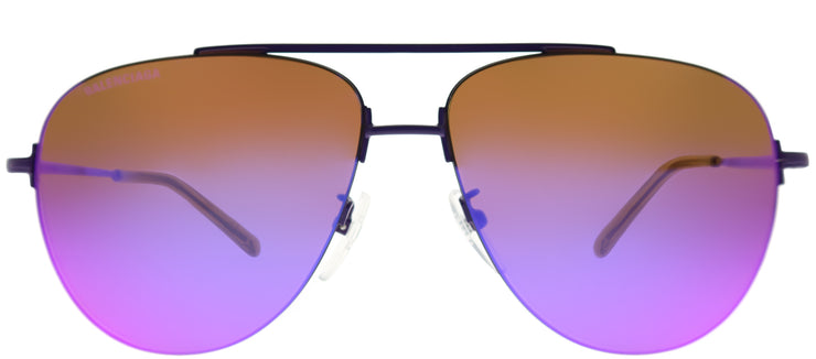 Balenciaga BB 0013S 003 Aviator Metal Purple Sunglasses with Purple Mirror Lens