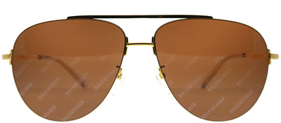 Balenciaga BB 0013S 005 Aviator Metal Gold Sunglasses with Brown Mirror Lens