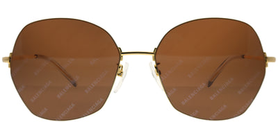 Balenciaga BB 0014S 005 Geometric Metal Gold Sunglasses with Brown Mirror Lens