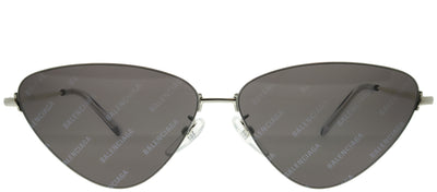Balenciaga BB 0015S 004 Cat Eye Metal Silver Sunglasses with Grey Mirror Lens
