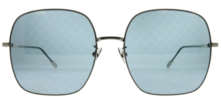 Bottega Veneta BV 0202S 002 Square Metal Silver Sunglasses with Blue Mirror Flash Lens