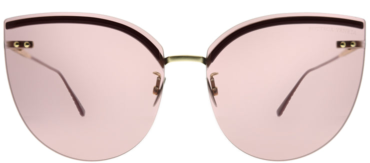 Bottega Veneta BV 0205S 004 Cat-Eye Metal Burgundy/ Red Sunglasses with Pink Lens