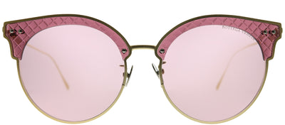 Bottega Veneta BV 0210S 003 Cat-Eye Metal Gold Sunglasses with Pink Lens