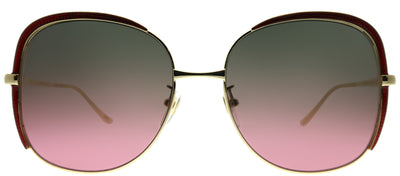 Gucci GG 0400S 003 Square Metal Gold Sunglasses with Brown Gradient Pink Lens