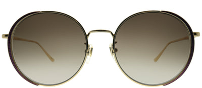 Gucci GG 0401SK 001 Round Metal Gold Sunglasses with Brown Gradient Lens