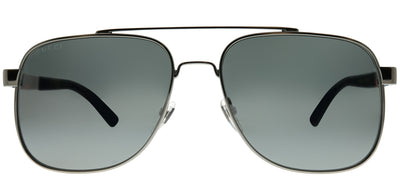 Gucci GG 0422S 004 Aviator Metal Grey Sunglasses with Grey Mirror Lens