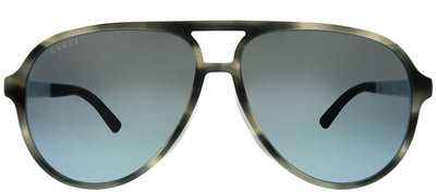 Gucci GG 0423SA 003 Aviator Plastic Grey Sunglasses with Grey Mirror Lens