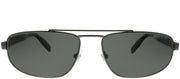 Montblanc MB 0033S 005 Rectangle Metal Ruthenium/ Gunmetal Sunglasses with Grey Polarized Lens