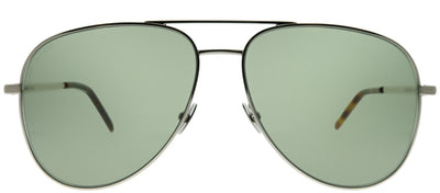 Saint Laurent Classic11 Folk 002 Aviator Metal Silver Sunglasses with Green Lens
