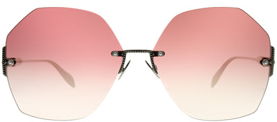 Alexander McQueen AM 0178S 002 Rimless Metal Silver Sunglasses with Red Gradient Lens