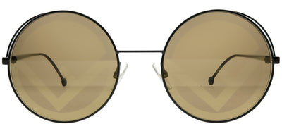 Fendi FF 0343 807 EB Round Metal Black Sunglasses with Brown Gold Fendi Logo Lens