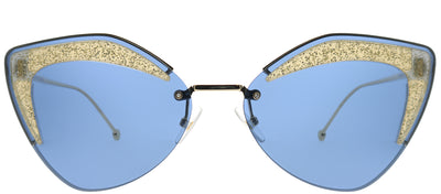 Fendi FF 0355 ZI9 KU Cat-Eye Metal Gold Sunglasses with Blue Lens