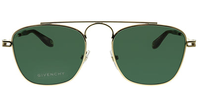 Givenchy GV 7055 J5G Geometric Metal Gold Sunglasses with Green Lens