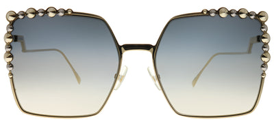 Fendi FF 0259 J5G FQ Square Metal Gold Sunglasses with Silver Mirror Gradient Lens