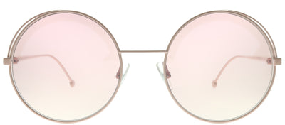 Fendi FF 0343 35J 01 Round Metal Pink Sunglasses with Pink Fendi Logo Lens