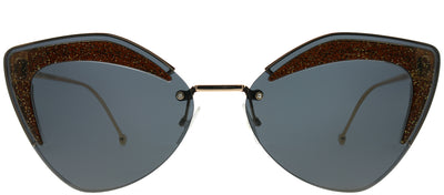 Fendi FF 0355 KB7 IR Cat-Eye Metal Gold Sunglasses with Grey Lens