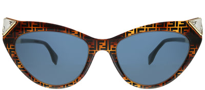 Fendi FF 0356 086 KU Cat-Eye Plastic Brown Sunglasses with Blue Lens