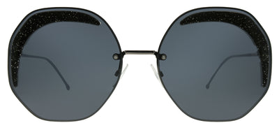 Fendi FF 0358 KB7 IR Geometric Metal Grey Sunglasses with Grey Lens