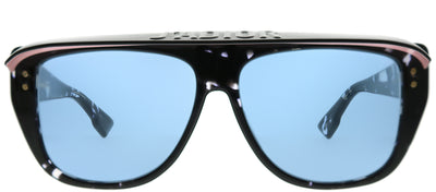 Dior CD DiorClub2 9WZ KU Rectangle Plastic Black Sunglasses with Blue Lens