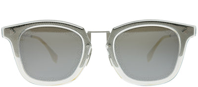 Fendi FF M0045 010 T4 Square Metal Silver Sunglasses with Silver Mirror Fendi Logo Lens