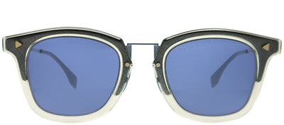 Fendi FF M0045 09V KU Square Metal Grey Sunglasses with Blue Mirror Fendi Logo Lens