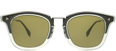 Fendi FF M0045 3U5 QT Square Metal Grey Sunglasses with Green Mirror Fendi Logo Lens