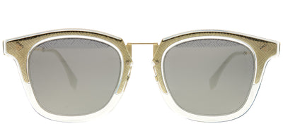 Fendi FF M0045 J5G UE Square Metal Gold Sunglasses with Grey Mirror Fendi Logo Lens