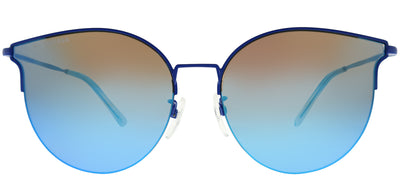 Balenciaga BB 0021SK 003 Cat Eye Metal Blue Sunglasses with Blue Mirror Lens