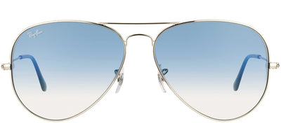 Ray-Ban RB 3025 003/3F Aviator Metal Silver Sunglasses with Light Blue Gradient Lens