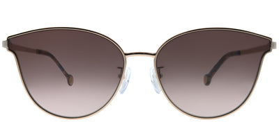 Carolina Herrera SHE 104 A39 Cat Eye Metal Gold Sunglasses with Brown Mirror Lens