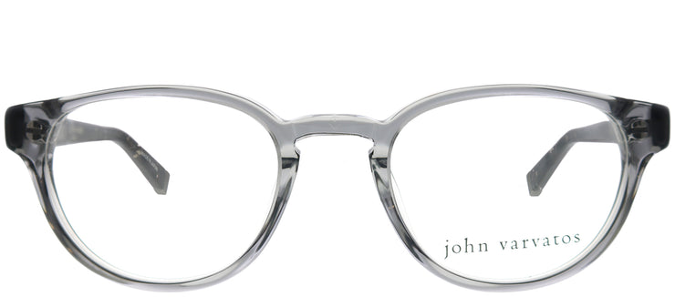 John Varvatos JV V353UF CRY Round Plastic Clear Sunglasses with Demo With Grey Clip on Lens