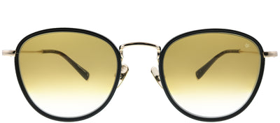 John Varvatos JV V531 BGO Round Plastic Black Sunglasses with Gold Gradient Lens