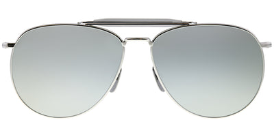 Thom Browne TB TB-015-LTD-SLV-62 Aviator Metal Silver Sunglasses with Silver Mirror AR Lens