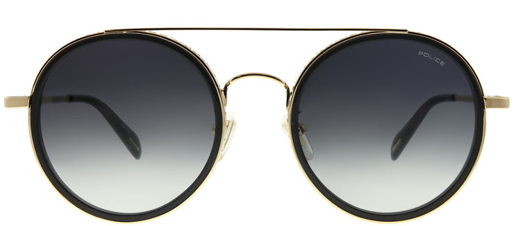 Police SPL 830 300 Round Metal Gold Sunglasses with Grey Gradient Lens