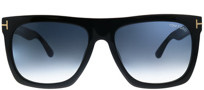 Tom Ford Morgan TF 513 01W Black Rectangle Plastic Black Sunglasses with Blue Gradient Lens