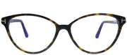 Tom Ford FT 5545-B 052 Black Cat Eye Plastic Tortoise/ Havana Eyeglasses with Blue Block Lens