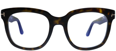 Tom Ford FT 5537-B 052 Black Square Plastic Tortoise/ Havana Eyeglasses with Blue Block Lens