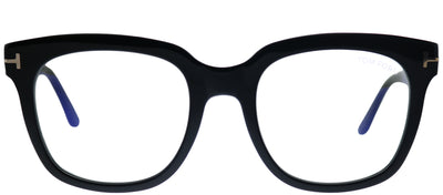 Tom Ford FT 5537-B 001 Black Square Plastic Black Eyeglasses with Blue Block Lens