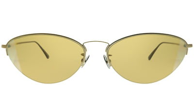 Bottega Veneta BV 0245S 002 Geometric Metal Gold Sunglasses with Yellow Intrecciato Lens