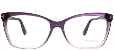 Tom Ford FT 5514 083 Transparent Brown Cat Eye Plastic Purple Eyeglasses with Demo Lens