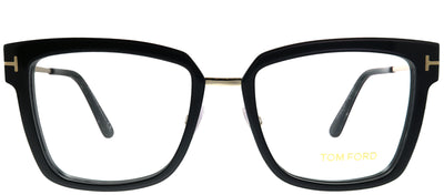 Tom Ford FT 5507 001 Black Rose Gold Square Metal Black Eyeglasses with Demo Lens