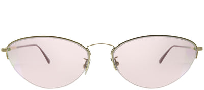 Bottega Veneta BV 0245S 003 Geometric Metal Gold Sunglasses with Pink Intrecciato Lens