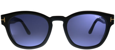 Tom Ford TF 590 01V Square Plastic Black Sunglasses with Blue Lens