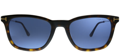 Tom Ford TF 625 52V Square Plastic Tortoise/ Havana Sunglasses with Blue Lens