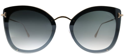 Tom Ford TF 657 01C Butterfly Metal Black Sunglasses with Grey Mirror Gradient Lens