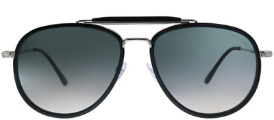 Tom Ford TF 666 01B Pilot Metal Black Sunglasses with Grey Gradient Lens