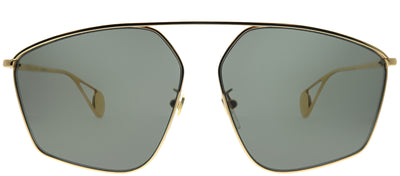 Gucci GG 0437SA 002 Geometric Metal Gold Sunglasses with Grey Lens